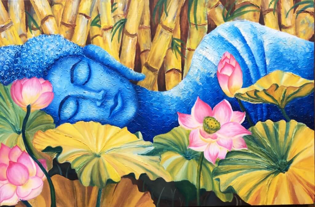 sleeping buddha with lotus flower